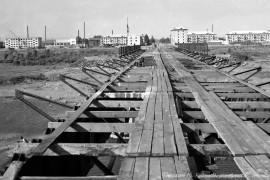 Биробиджан Начало шестидесятых Строительство моста через Биру Фото Ю.КОСВИНЦЕВА